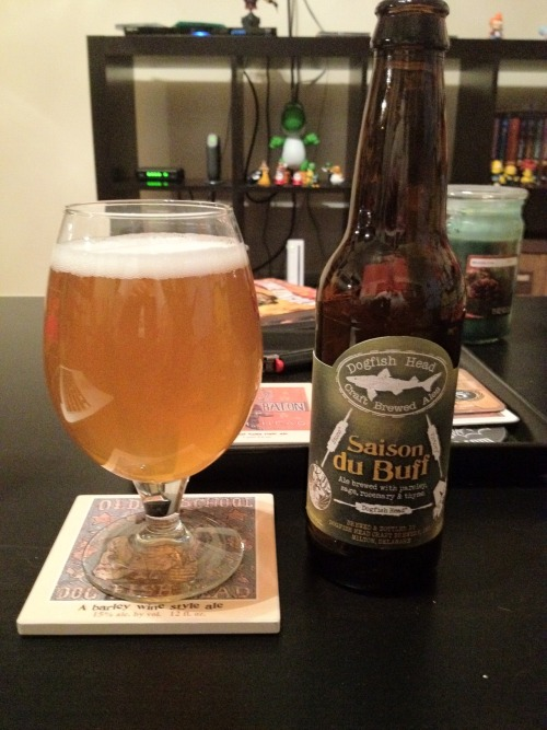 Dogfish Head/Stone/Victory | Saison Du Buff | 6.8% ABV Saison This beer is a collaboration between Dogfish Head, Stone, and Victory. It's a Saison brewed with parsley, sage, rosemary, and thyme. Yes, like the facking Simon & Garfunkel album. Despite my unintentional hatred for the saison, I really like this one. I'm not really familiar with the taste of these spices, but combined it makes for a very delicious and refreshing beer. I'll make sure there's a four pack of this at my next BBQ. Go get this one. Stone and Victory will be releasing a bottle in April and May as well. I'll be trying those too! Price: $9.99/4-pack Rating: 7/10