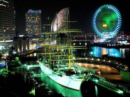 """ Nippon Maru in Yokohama at Night """