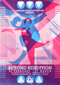 Beyond Rendition 2012 My brief was to come up with an inventive and innovative publicity campaign for my local theatre to excite the public's imagination about its new and controversial RSC Shakespeare production. The theatre wants to attract a wider, more diverse audience to come to the theatre to see it. I have been commissioned by the Theatre to promote this new and extraordinary production. I decided to come up with an alternative twist to the popular 'Romeo and Juliet' play. Influenced by the 'West Side Story', the scenario is among dance and how two different styles of dance come together. By creating four outcomes such as a poster, flyer, laser-cut ticket and a oystercard holder – it will help to promote this production to its audience. I wanted to pick this particular situation to attract a wider audience between 10-30 year old. In addition it can encourage the youth to get involved with their local theatre.