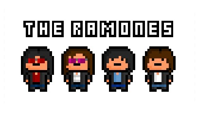The Ramones, the early 70's rock band who are often cited as one of the first punk rock groups in music history, now immortalised in a heavily pixelated form. - by pixelblock