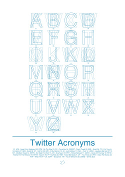 "Twitter Acronyms 2011 Screen-printed & Letterpress printed on A2 (594 x 420 mm) Typology is the classification of things according to their characteristics. You can see it in use when dividing culture by races or when naming buildings in urban spaces. According to Ian Noble in Visual Research – A Introduction to Research Methodologies in Graphic Design, ""Typology –The study and interpretation of types – for instance, a person, thing or event that serves as an illustration or is symbolic or characteristic of something. The phrase also relates to the organisation of types and their classifications for the purpose of analysis"" I was required to create a classification system using text, typography and images. Through research, I had to find objects, people, systems, networks, communities or anything that I can justify that exists in a group. However, it cannot be predefined, and is therefore in need of classification. The idea behind Twitter Acronyms was to select common slang used around social networks and see whether I could create an alphabet. The use of overlapping was a way to construct this typology together and have its own definition. I decided to take my ideas through screen-printing and letterpress which were then printed on A2 (594 x 420 mm)."