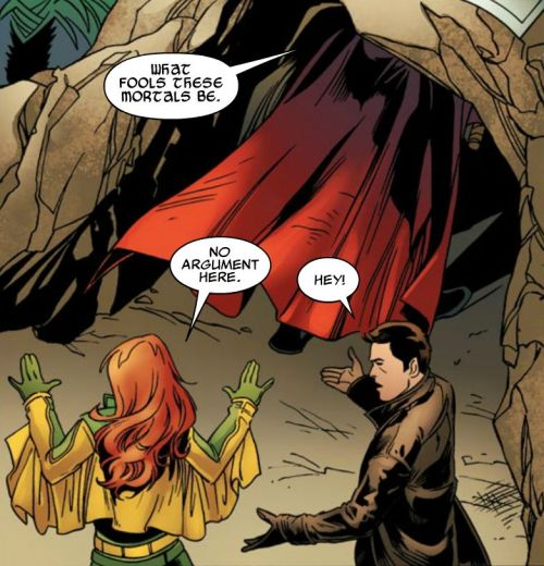 Thor: What fools these mortals be. Siryn: No argument here! Jamie Madrox: Hey! - from X-Factor #212.  Written by Peter David, drawn by Emanuela Lupacchino. December 2010.