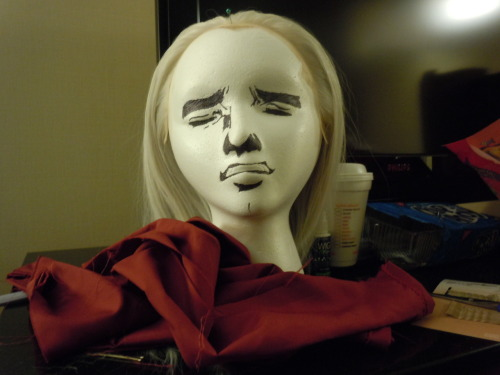 bonjourxrenae:  So Kat, one of our cosplay group members, used this wig head for her Revolver Ocelot cosplay wig…