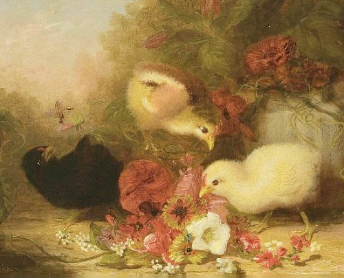 Mary Russell Smith Three Chicks with Flowers 1879