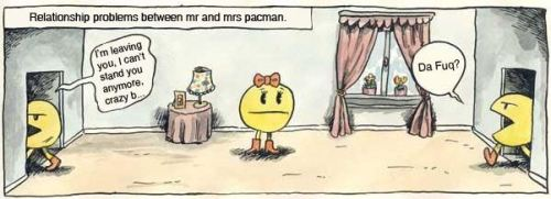 Relationship problems between mr and mrs pacman. pleatedjeans:  autoliniers