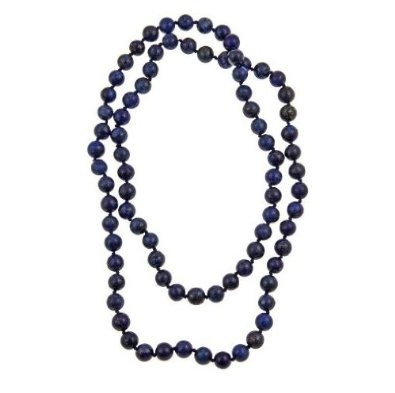 Blue Lapis Lazuli Necklace 36-Inches Long from Pearlz Ocean. Each Bead is knotted individually. This necklace has an eye-catching look. Perfect for a friends gift or for yourself. Other gemstones available in same unique design.