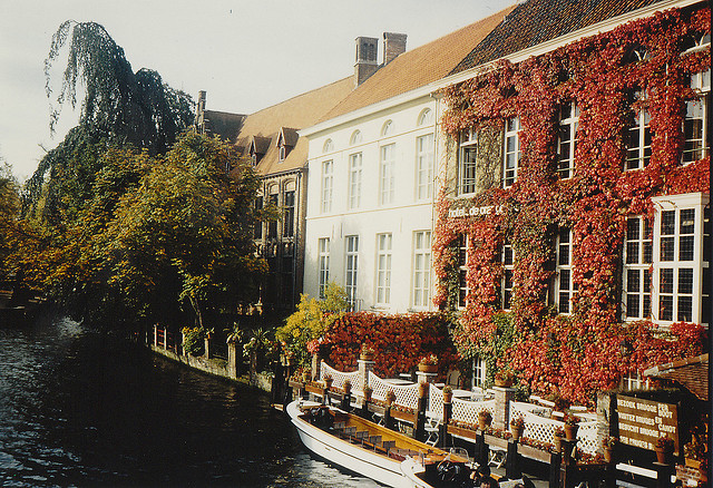 | ♕ |  Bruges - canal house in autumn  | by © MADBAR