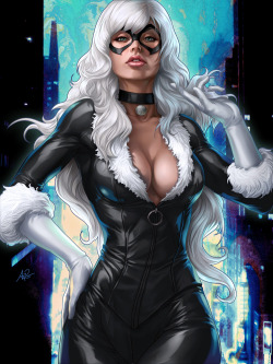 ladies-in-little-to-no-clothing:  Black Pussy Cat by Artgerm