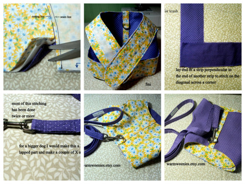 Some of the steps in making a WarmWeenies reversible/adjustable harness & leash. I had no idea how much work these were until I documented the process. These photos just touch the surface. The last three are the finished product. I made 32 photographs and wrote several pages of how to. My my, I may need to adjust the price…just kidding :)