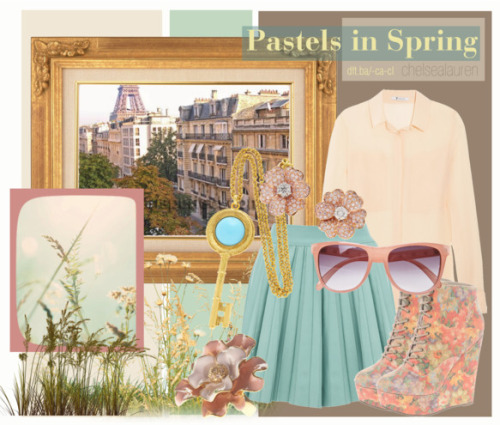 Pastels in Spring | Original Set by chelsealauren10 featuring a silk blouse