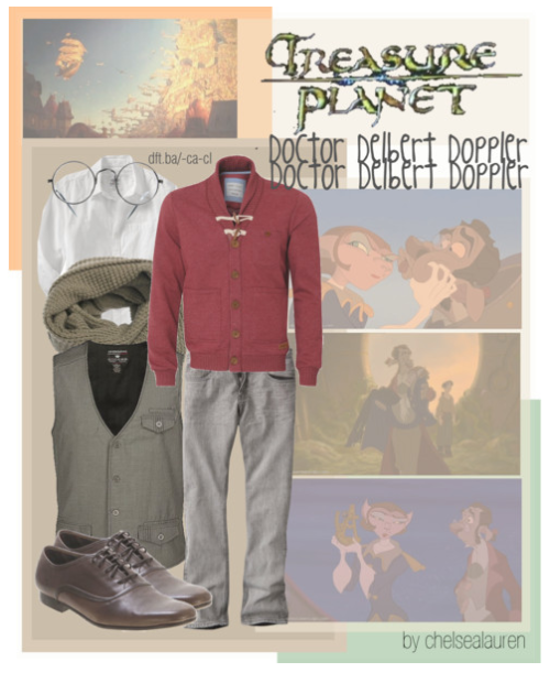 Doctor Delbert Doppler | Treasure Planet by chelsealauren10  Pop Icon Jerrod Vest, $43Jeans, $28Old Navy Mens Patterned Button Down Collar Shirts, $25Cheap Monday Zeke Scarf - Army Green, £12