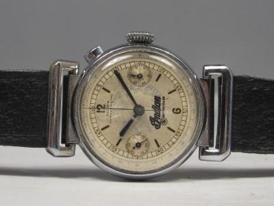 1930's Vulcain Single Pusher Chronograph with Indian Motorcycle Branding and Articulated lugs…yeah, this is an awesome watch