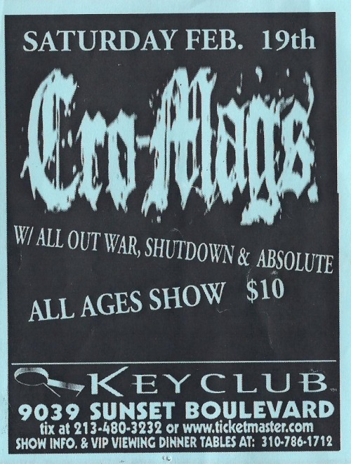 Cro Mags, All Out War, Shutdown, & Absolute @ the Key Club