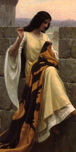 athousandwinds: 1911 Edmund Blair Leighton (British historical genre painter, 1852-1922) ~ Stitching the Standard [detail]; Edmund was a son of Charles Blair Leighton, also a portrait and historical painter
