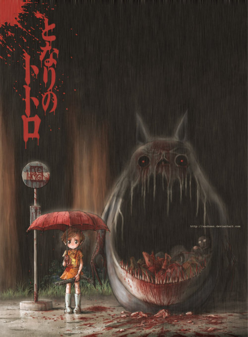 So here's a creepy twist on the japanese anime 'Totoro'.