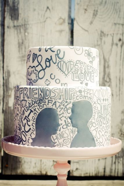 Probably more appropriate for younger couples, but such a cute cake! Kinda like what you would see in a yearbook…