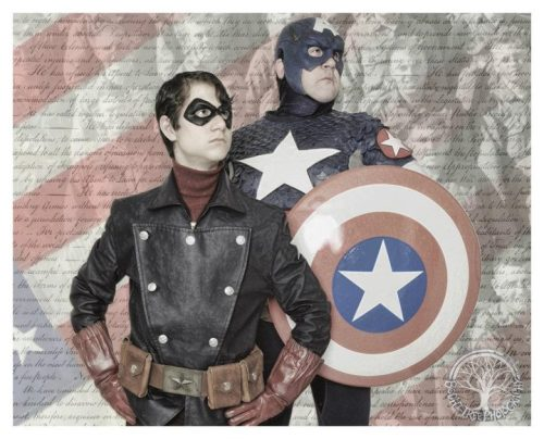 arivin923:  My friend Kevin and I as Captain America and Bucky respectively. Taken when I was down in Atlanta for Spring Break by Grace of Bodhi Tree Photography (who also did the PS art)! Inspired by this pic:   I miss you!!!!