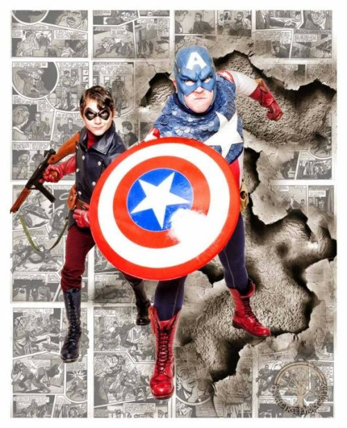 arivin923:  Another shot of my friend Kevin and I as Captain America and Bucky respectively. Taken when I was down in Atlanta for Spring Break by Grace of Bodhi Tree Photography (who also did the PS art)!