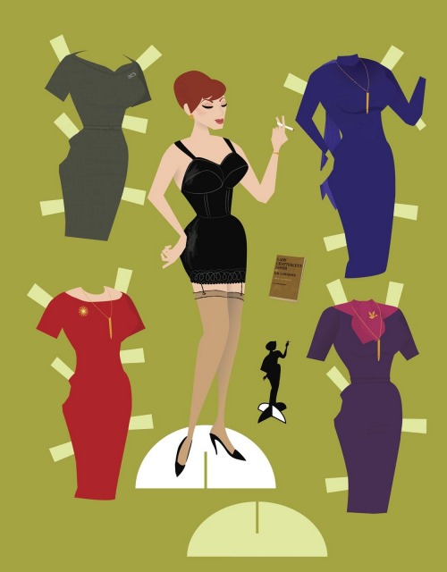 "Joan, Mad Men, paper doll, from ""Mad Men: The Illustrated World"" by Dyna Moe"