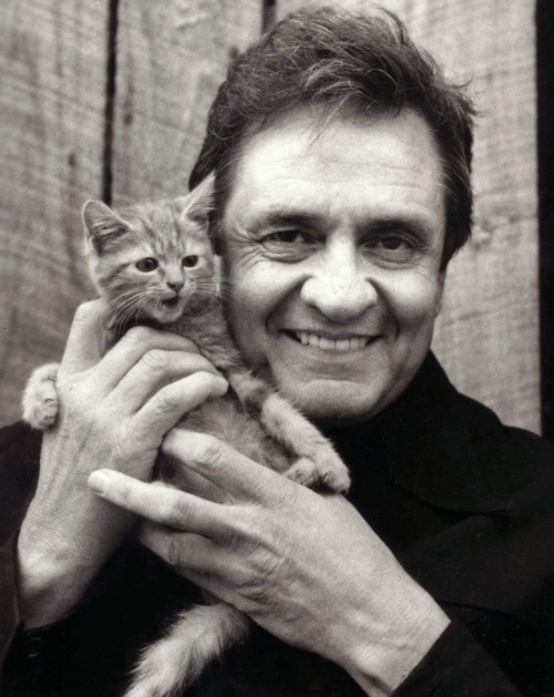 Johnny Cash and Kitten If anyone knows who took this please let me know!