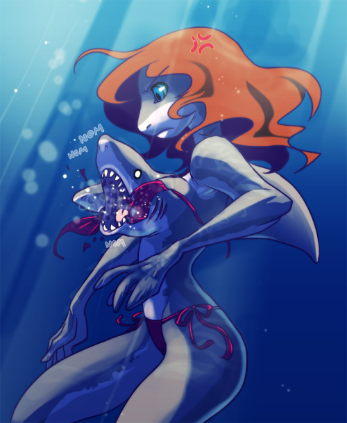 Shark Tit Girl by =GNZG This was somewhat of a special request from my friend claude Behold! THE SHARK GIRL…WITH SHARK TITS Really it's an awful thing to continuously have your tops chewed out all the time