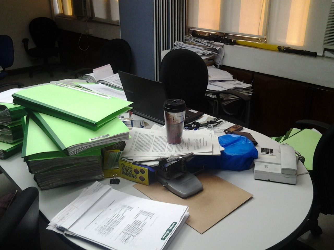 My work area at the client's office. This is as organized as I can get.