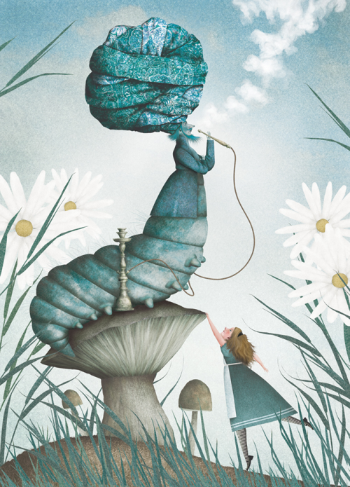 PerSe1010:  heyoscarwilde: Who are you? Alice and the Caterpillar illustrated by Iban Barrenetxea :: via ibanbarrenetxea.blogspot.ca  I love this illustration a lot. Can't wait to look at his other stuff… nm, just did. All awesome. :)