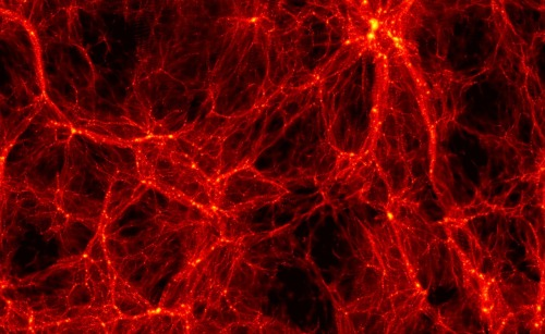 Galaxies form within the complex network of massive filamentary dark matter structures. The region shown is a billion light years across. Paper at ArXirv.org : Before Stars, Dark Matter Haloes were First Objects in the Early Universe Source (Institute for Theoretical Physics, University of Zürich)