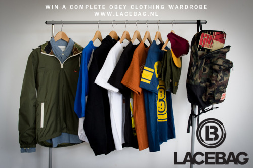 lacebag:  Win a complete wardrobe by OBEY Clothing (600 euro value)! Follow @LacebagReblog and add your size (for tops and bottoms) For more info:http://www.lacebag.nl/obey-garderobe/