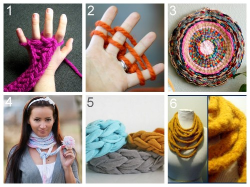 rainbowsandunicornscrafts:  DIY Finger Knitting and Finger Knitting Projects. Direct links and Tutorials: How to Knit with Fingers: Little Bird School School of Stitchcraft here. How to Knit with Fingers: flax & twine here. DIY Woven Finger Knitting Hula Hoop Rug (flax & Twine) here. DIY Finger Kniting Scarf (Dana's Fashion Blog) here. DIY Finger Knitting Jersey Knit Bracelets (V and Co.) here. DIY Finger Knitting Felted Scarf (BurdaStyle) here.