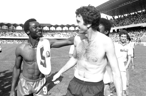 interleaning:  Dino Zoff and Roger Milla, World Cup 1982.