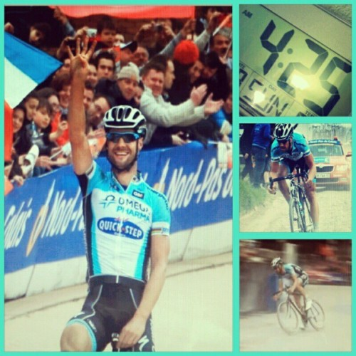 watched a live stream of paris-roubaix n tom boonen do work at 4:25am. #boonen #tommeke #winning #cobbles #roubaix #goodmorning #cycling - @gmichaelj- #webstagram
