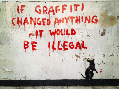 mariemaudit:  banksy   this banksy classic is literally a 2 minute walk from my front door!