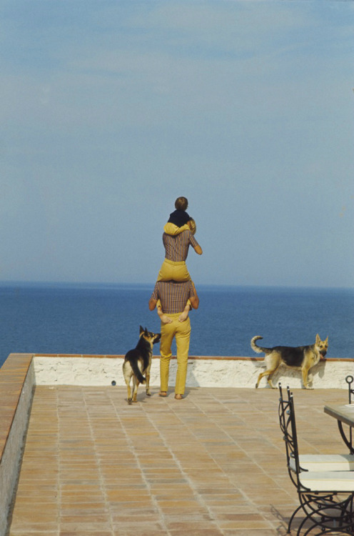 alaindelon:  With Nathalie, Anthony and their dogs in Saint-Tropez.