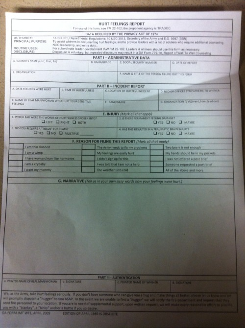 Hurt Feelings Report.