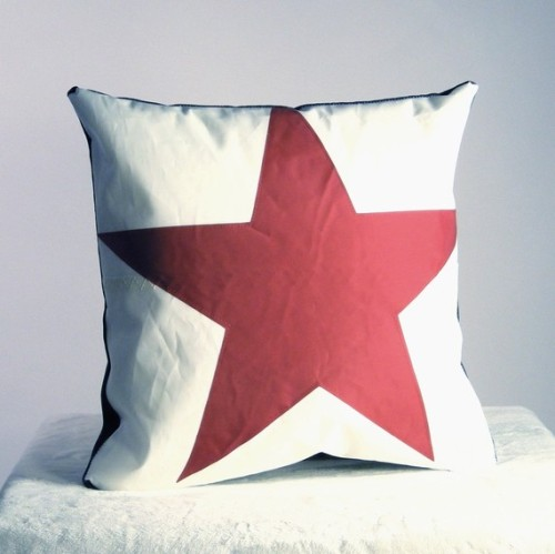 Recycled Sail Throw Pillows Red Star by reiter8 Reiter8 pillows are made from upcycled sail boat sails
