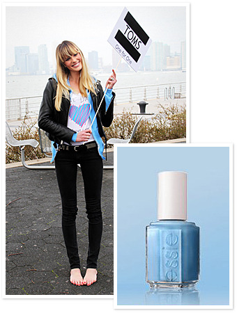 Glamour magazine is giving away 100 bottles of Essie's Barefoot in Blue created for TOM's third annual One Day without Shoes event. Don't miss out, contest ends tomorrow April 10th at 11:59pm EST. Just tweet @glamour_fashion a picture of your nails and include the hashtag #wkndmani Also don't forget to check out TOM's to find an event near you. Tomorrow is One Day Without Shoes.  :) Krystal Monique  Photo taken from: http://thefabandtheflawless.com/blog/?p=1572