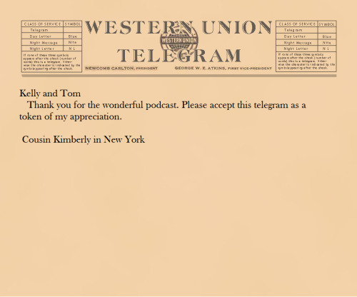 Our first *real* telegram!