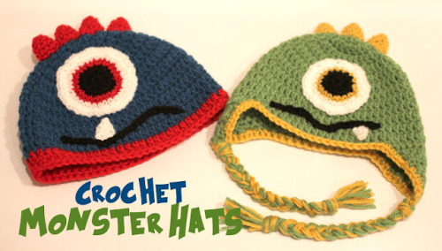 How to Make a Crochet Monster Hat  I started by following Alli Crafts Earflap Hat pattern. This is one of my go-to patterns because it works up quickly and ranges from preemie-toddler sizes. The blue hat is toddler size and the green hat is 9-12 month size. I left off the earflaps on the blue toddler hat and ended with two rows of red. One thing I always change when following her directions is instead of chaining 3 at the beginning of each round, I chain 2 (do not count it as a dc), start my round in the same stitch as my ch 2 and then join my round to the first dc. It hides the seam much better this way. For the spikes and the eye I followed The Boy Trifecta's Monster Hat Pattern. For the eye I added in a 3rd color and made it larger. And the spikes I made shorter. The mouth is just a series of chains. Just stop at desired length. And the Tooth pattern is as follows: Chain 6. Sl st into second chain from hook then sc, hdc, dc, dc. Fasten off leaving long tail to sew on. I hope you were able to follow all of that. Let me know if you have any questions!
