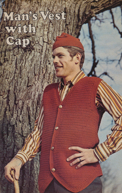 thepieshops:  Fashions from the Workbasket: Man's Vest With Cap  The Workbasket February 1973