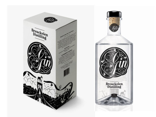suspensefulgraphics:  This is a stunning design for a gin bottle, I cannot get over how amazing the typography is in the label, so nice.