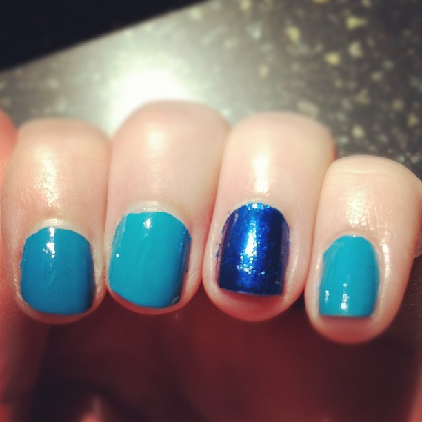 Blue nails #nailart (Taken with instagram)