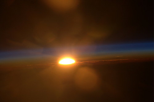 unknownskywalker:  Sunset from the ISS Sunset photographed by an Expedition 30 crew member from the International Space Station.