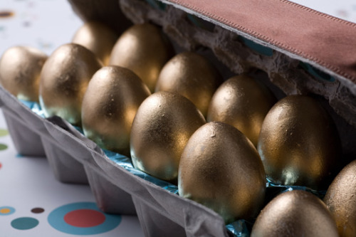 """I want my geese to lay gold eggs for Easter""—Veruca Salt (via Spring Treat: How To Make Golden Chocolate Easter Eggs 