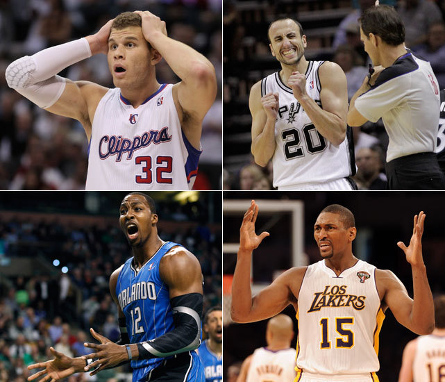 "If there's one common thread among all NBA players, it's that they don't like to have fouls called against them. With that in mind, SI collected some of the NBA's memorable ""I didn't foul"" faces of the 2011-12 season. Click the link below to see the whole gallery. (Griffin - Jeff Gross/Getty Images; Ginobli - AP; World Peace - Harry How/Getty Images; Howard - AP) GALLERY: NBA's ""I Didn't Foul"" Faces of 2011-12 Season"