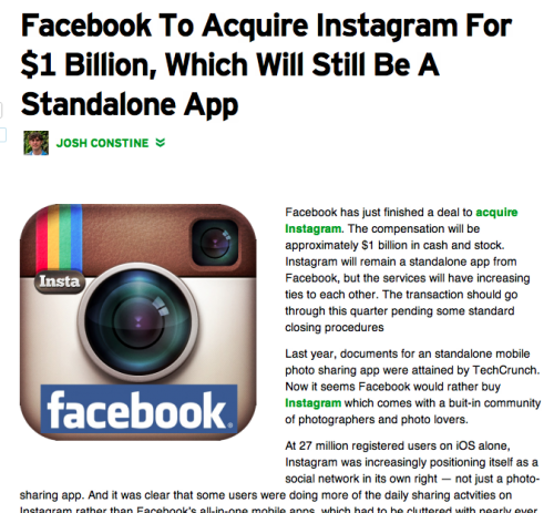photojojo:  Facebook just bought Instagram for $1billion! You can expect Instagram to stay a separate app from Facebook, but there will probably be more integration between the two. Read more above! TIP: For those wary of a Facebook takeover, you can download all of your Instagram photos to your computer with Instaport. via & screengrab from TechCrunch