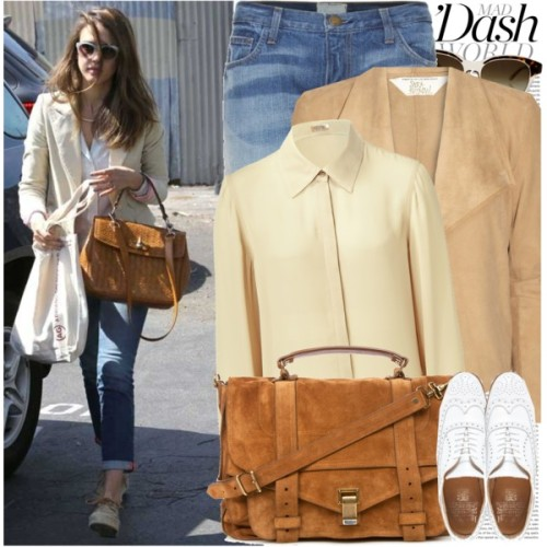 Celebrity Look: Jessica Alba by marymary91 featuring suede handbagsL Agence collared shirt, $455Sara Berman suede leather jacket, £180Current/Elliott boyfriend jeans, $525Jack Wills oxford shoes, $298Proenza Schouler suede handbag, $1,995Stella McCartney vintage sunglasses, €202