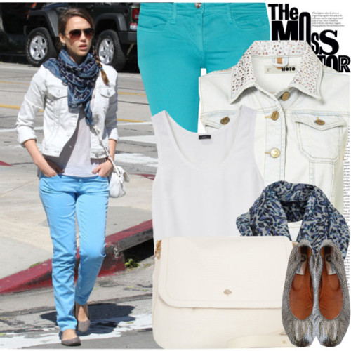 Celebrity Look: Jessica Alba by marymary91 featuring skinny fit jeansJoseph scoop neck tank, $98Jean jacket, $76Faith Connexion skinny fit jeans, $250Lanvin ballet shoes, $595Mulberry genuine leather handbag, $1,100Leopard print scarve, $32
