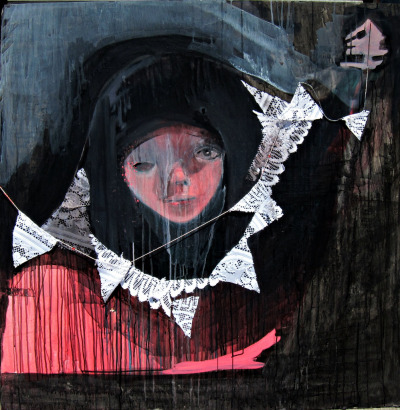 Lisa G Bauer Come with Me. Refrain From Questioning.  Mixed Media ( Acrylic, Lace, String, Pastel and Ink)  4 Ft X 4 Ft 2012