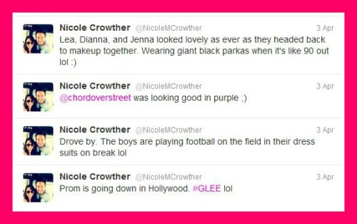 Remember that Glee extra Nicole Crowther who spoiled Glee's prom episode? Well, she's back, and tweeting about this year's prom episode in an attempt to stay relevant.